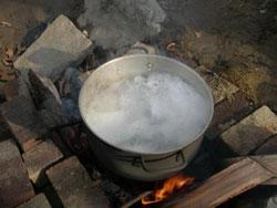 Maple Syruping Boiling Sap